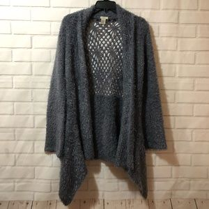 Anthro Escio Medium Gray Fuzzy Soft Lace Cardigan